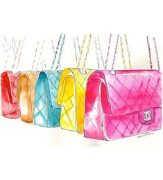 09882757f4a1 Colorful Chanel Flap Handbags Watercolor Fashion illustration by MilkFoam,  $50.00 Fashion Illustration Sketches, Beauty