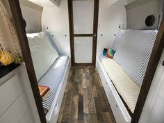 Airstream Bunk Beds Turn Into Couches, Party Airstream, Family of 6, Airstream Renovation