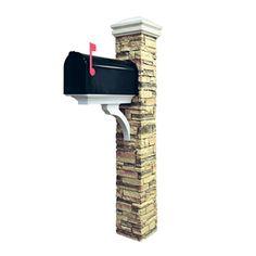 Eye Level Stacked Stone Beige Mailbox Post 50-kitbwc