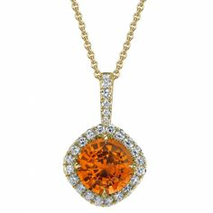 Omi Prive: Spessartite Garnet and Diamond Pendant Style: PS1150C-SGRD-YG