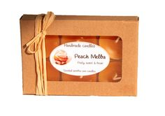 #Scented #paraffin #tealight with a ligth orange color. It has a #fruity #crisp medium strong scent. - $5.99 Teddy Bear Delivery, Peach Melba, Free Cards, Handmade Candles, Tea Lights, Orange Color, Crisp, Strong, Medium
