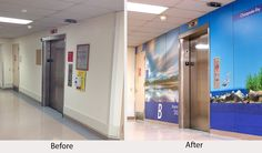 Baltimore VA elevator lobby before and after photo of Moxie graphic Panel System.  Our in-house design team created a different image layout for each floor of the hospital. All the imagery has the theme of local nature & healing.  #signage #wayfinding