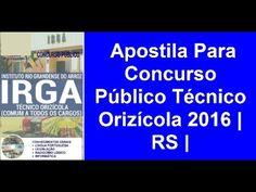 Apostila Concurso Público Técnico Orizícola 2016 | RS |