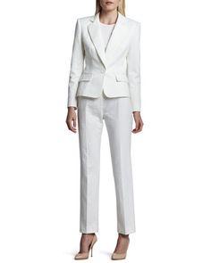 Long Sleeve Notch Collar Pantsuit, Blanc (White) by Albert Nipon at Neiman Marcus.