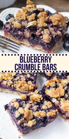 These blueberry oatmeal crumble bars are bursting with juicy blueberries, and filled with crunchy oatmeal crumble. Delicious for breakfast or dessert – these easy crumble bars are always a hit! Blueberry Oatmeal Bars, Blueberry Breakfast, Blueberry Cobbler, Blueberry Crisp, Köstliche Desserts, Dessert Recipes, Fruit Dessert, Oatmeal Dessert, Spring Desserts