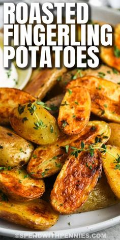 Make these crispy garlic-coated roasted fingerling potatoes in the oven or on the grill. Mix things up by adding some extra herbs, rosemary, or onion. #spendwithpennies #roastedfingerlingpotatoes #recipe #sidedish #crispy #carrots #garlic #rosemary #parmesan #airfryer #oven Cheese Mashed Potatoes, Potatoes In Oven, Vegetable Recipes, Beef Recipes, Cooking Recipes, Loaded Scalloped Potatoes Recipe, Perfect Pot Roast, Beef And Potato Stew, Side Dishes