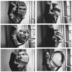 This concave mirror makes her face look flipped when it is angled to the side…