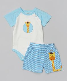 This Blue Giraffe Organic Bodysuit & Shorts - Infant by My O Baby is perfect! #zulilyfinds
