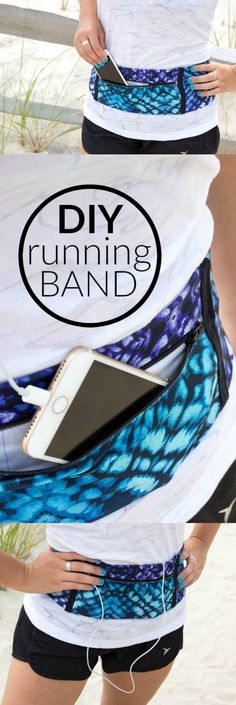 Sew this easy DIY Running Band to carry your phone or mp3 player so you can listen to music while you exercise.