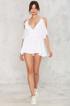 Play Ice Cold Shoulder Romper - White | Shop Clothes at Nasty Gal!