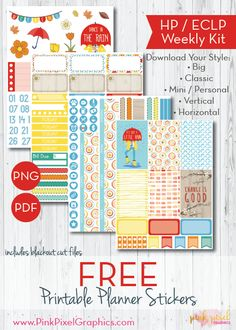 Free Just a Little Rain Planner Stickers for Happy Planner, Erin Condren (ECLP) and more. {newsletter subscription required} See more at www.pinkpixelgraphics.com