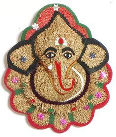 Lord Ganesha on Flower (Khuskhus Root and Cloth)) Lord Ganesha, Baby Ganesha, Ganesha Art, Ganesh Chaturthi Decoration, Happy Ganesh Chaturthi, New Mehndi Designs, Beautiful Rangoli Designs, Paper Flowers Craft, Cat Art