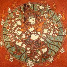 Shiva as Nataraja - Kerala mural style Kalamkari Painting, Tanjore Painting, Om Namah Shivaya, Indian Art Gallery, Indian Contemporary Art, Kerala Mural Painting, Dancing Drawings, Nataraja, Indian Folk Art
