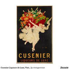 Cusenier Liqueurs de Luxe, Vintage Poster