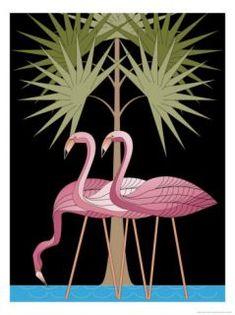 Art Deco Illustration, Flamingo & Palm Tree
