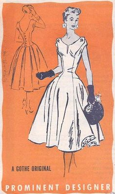 1950s Beautiful Evening Party Dress Pattern Prominent Designer M220 Gothe Original Full Skirt Figure Flattering Princess Seams Bust 36 Vintage Sewing Pattern 125