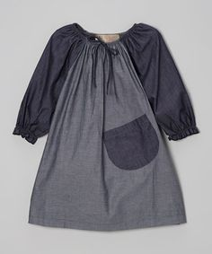 Gray Denim Peasant Dress - Toddler & Girls