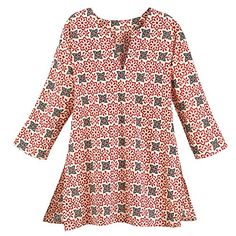 Womens Tunic Top  Dede Floral Red White Graphic Cotton Shirt  Small ** Check out this great product.(This is an Amazon affiliate link and I receive a commission for the sales) #WomensTopsandTees Ju Ju, Clothes Horse, All About Fashion, Polka Dot Top, Women's Tops, Tunic Tops