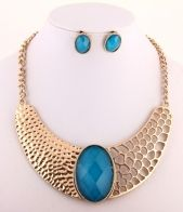 Gold engraved cut out cuff necklace, Blue Gemstone fashion Collar necklace, Sophies Jewellery Box