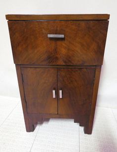 Antique Art Deco Flame Mahogany Music Stereo Component Cabinet Record Album…