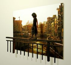 Artist Shintaro Ohata places his sculptures in front of his paintings.