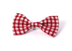 Delilah Small Red Gingham Cat Collar Bow Tie