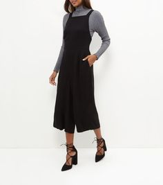 Black Pinafore Culotte Jumpsuit | New Look