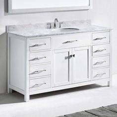 Virtu Caroline 60 in. Single Bathroom Vanity Set - Round Sink - MS-2060-WMRO-