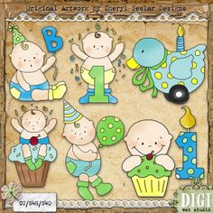 Celebrate Baby Boy 1 - Cheryl Seslar Country Clip Art