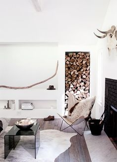 Live art idea for side of fireplace - wood storage