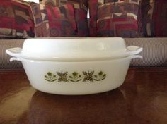 Anchor Hocking Fire King 1.5 QT Oval Covered Casserole Meadow Green Pattern by AlbertsonMiller on Etsy