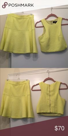 Two piece outfit-  Lulu's Adorable neon yellow two piece outfit! Purchased from Lulu's! Only worn once- in excellent condition! Lulu's Dresses