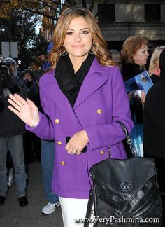 #MariaMenounos Tucks #BlackScarf Into Her Purple Pea Coat