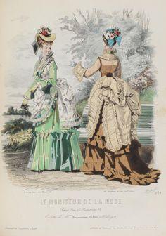 Le Moniteur de la Mode fashion plate, 1874, showing dresses with elaborately draped and ruffled bustles.