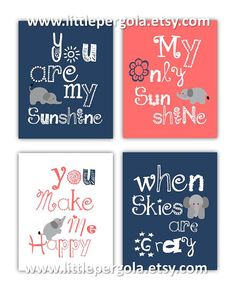 Elephant Art You are my sunshine Navy Blue and by LittlePergola