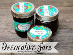 How to make decorative jar wraps and lids for dressing up your home canned goods.