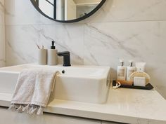 ACCESSORIES | With a nod to the existing decor, these bathroom accessories were influenced by grey and black 🤍🖤 . . . . . #thepropertystylist #property #stylist #propertystyling #propertystylist #bathroomdesign #bathroomdecor #bathroom #bathroomstyle #bathroomstyling #marblebathroom #marbletiles #grey #black #greyandblack #realestate #styledtosell #realestateauckland Marble Tiles, Bathroom Styling, Home Staging, Bathroom Accessories, Sink, Grey, Things To Sell, Black, Home Decor