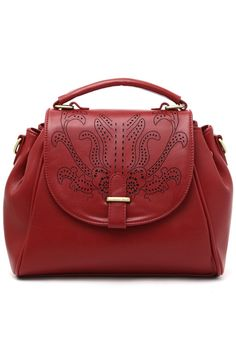 Red Satchel Bag with Cut Out Detail
