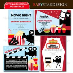 These adorable invitation templates are perfect for movie night invitations, thank you cards, scrapbooking and many more!  Great for offering at Zazzle type of websites.
