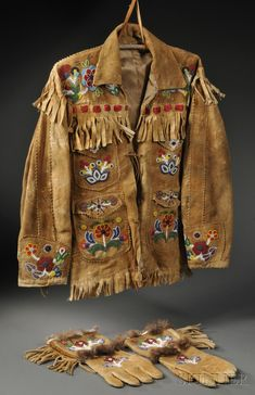 Cree/Athabascan Beaded Hide Coat and Matching Gauntlets, c. second quarter 20th century Native American Regalia, Native American Clothing, Native American Artifacts, Native American Beadwork, Native American History, Native American Fashion, American Symbols, Native Indian, Native Art
