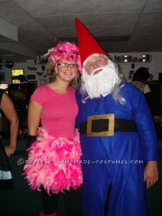 Coolest Lawn Ornaments Couple Costume – Flamingo and Gnome... This website is the Pinterest of costumes