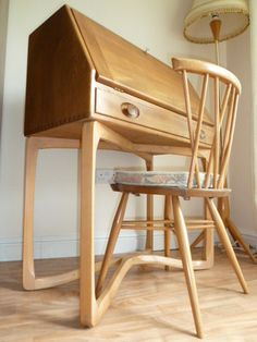 Ercol desk with candlestick chair Woodworking For Dummies, Woodworking Desk Plans, Woodworking Furniture, Woodworking Projects, Woodworking Videos, Woodworking Machinery, Woodworking Classes, Ercol Chair, Ercol Furniture
