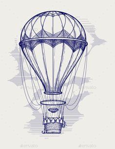 Hot Air Balloon Ball Pen Sketch