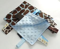 Blue Giraffe Satin Baby Tag Blanket with Minky Blue  Baby Shower Gift
