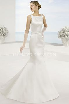 $145.09-Beautiful Mermaid Maxi Bateau Sleeveless Satin Wedding Dress With Illusion Back. http://www.ucenterdress.com/mermaid-maxi-bateau-appliqued-sleeveless-satin-wedding-dress-with-waist-jewellery-and-illusion-back-pMK_700754.html.  Shop for Best wedding dresses, Lace wedding dress, modest wedding dress, strapless wedding dress, backless wedding dress, wedding dress with sleeves, mermaid wedding dress, plus size wedding dress, We have great 2016 fall Wedding Dresses on sale. Buy Wedding…