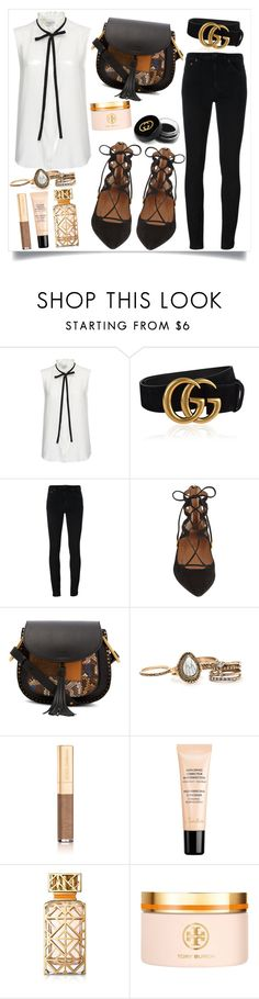 """Sans titre #785"" by salma-675 ❤ liked on Polyvore featuring Frame Denim, Gucci, Yves Saint Laurent, Aquazzura, Chloé, Dolce&Gabbana, Guerlain and Tory Burch"