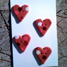 Polymer clay Valentine Button Set