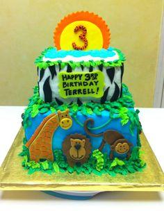 Safari/Jungle themed cake.