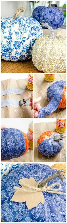 DIY Fabric Covered Pumpkins ~ Create beautiful and unique DIY fabric covered pumpkins to match your decor using faux pumpkins, fabric strips and Mod Podge!