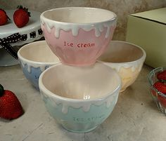 """""""Dripping"""" pastel ice cream bowls with lettering"""